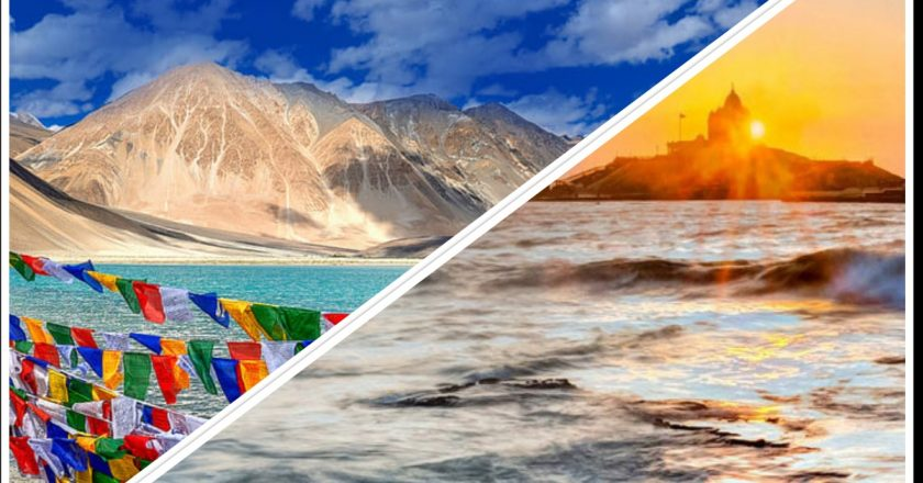 "Why the phrase ""Ladakh to Kanyakumari"" symbolises the ethos of the Indian civilization more"