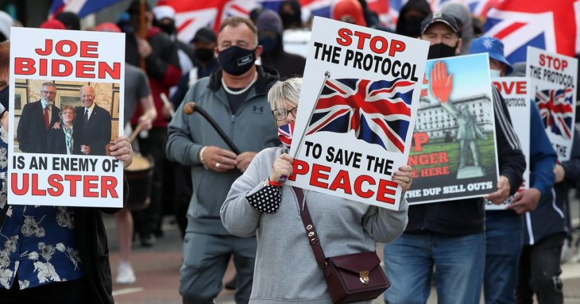 Northern Ireland: Demonstrations held in Belfast against protocol which enforces EU customs on products from Britain